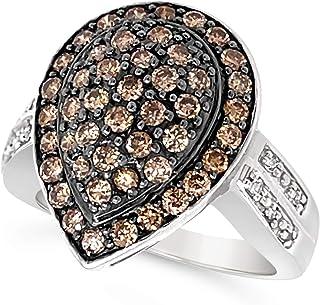 14k White Gold Chocolate Brown Diamond Pear Shape Halo Ring For Women (1.00 Carat)