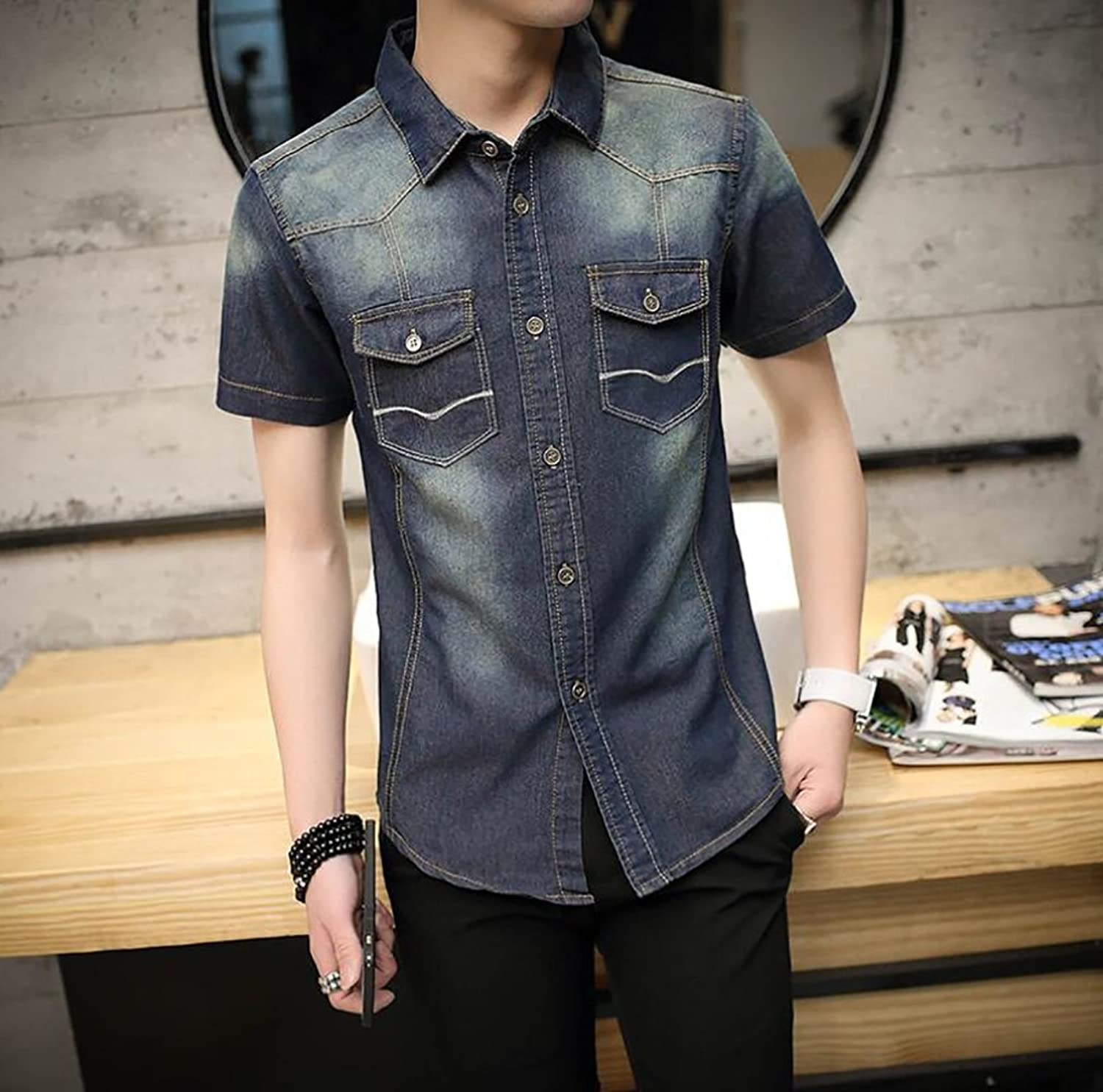 Men's Shirt Casual Cotton Slim T Shirts  Solid colord Cowboy Lightcolord Thin Section Short Sleeve Fashion Lapel Casual Slim Tops (color   3, Size   XXXL)