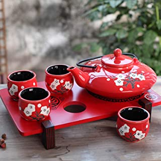 CoreLife Traditional Japanese Tea Set with Strainer and Tray - Handmade Enamel Ceramic Teapot with Infuser and Handle, 4 Tea Cups (Red Floral Design)