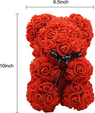 Tenflyer Ours en peluche rose et collier - Coffret cadeau pour anniversaire, douche de mariage, fête des mères