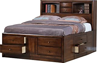 queen bed with bookcase and drawers