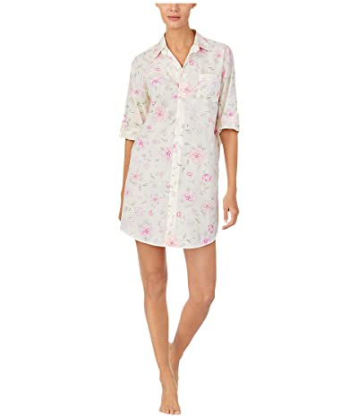 LAUREN Ralph Lauren Cotton Rayon Lawn Woven 3/4 Sleeve Roll Tab Sleeve His Shirt Sleepshirt (Multi Floral) Women