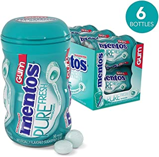 Mentos Pure Fresh Sugar-Free Chewing Gum with Xylitol, Wintergreen, Halloween Candy, Bulk, 50 Piece Bottle (Pack of 6)