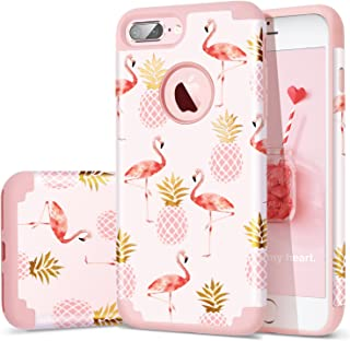 Fingic Case for iPhone 7 Plus, iPhone 8 Plus Case Pineapple, 2 in 1 Slim Case Hard PC Soft Rubber Cute Design Case for Girls Protective Cover for iPhone 7 8 Plus (Pink)
