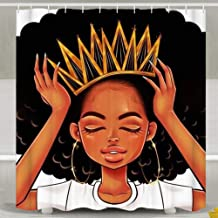 SARA NELL African American Women Girl with Crown Shower Curtain,Waterproof Polyester Fabric,Afro Girls African Queen Princess Bath Curtains Bathroom Decorations Home Decor,72x72 Inches with 12 Hooks