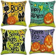 Hixixi 4-Pack Happy Halloween Black Cat Bat Throw Pillow Case Cotton Linen Sushion Cover Pumpkin Kids Home Decor