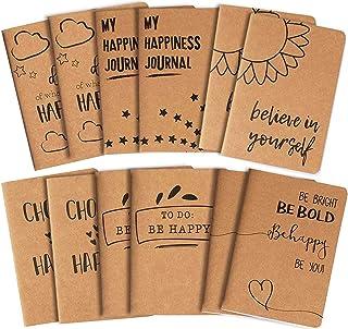 Kraft Paper Notebook, Happy Journal (4 x 5.75 in., 12 Pack)