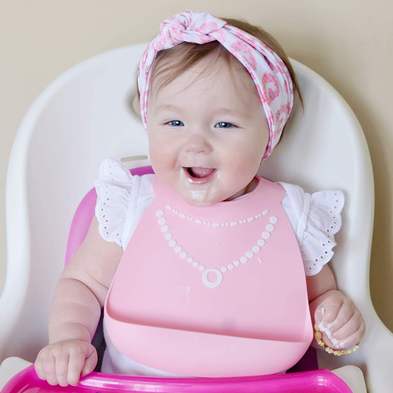 Nuby On-The-Go 3-D Silicone Feeding Bib, Pink Necklace