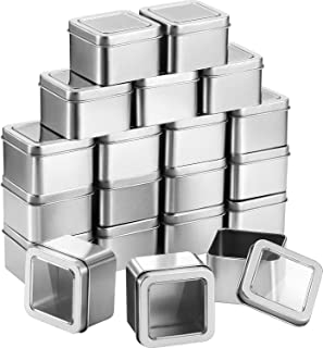Pangda Empty 4-Ounce Capacity Clear Top Square Silver Metal Tins Great for Gifts,and Treasures (20 Pack)