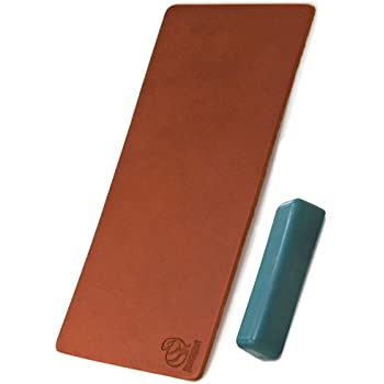 BeaverCraft Stropping Leather Strop for Sharpening Knife LS2P1 - Leather Honing Strop 3 x 8 IN- Knives Sharpening Kit with Stropping Set Buffing Polishing Compound - Double Sided Genuine Leather