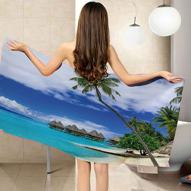IRUAIF Microfiber Max 58% OFF Beach Genuine Towel Blue Sky Seaside Tree Coconut 78.7