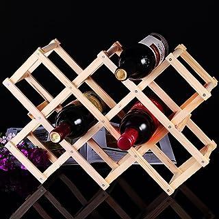 Popa Estantería de Vino Estante del Vino de Madera sólida Botellas de Colgar en la Pared del Estante del Vino del Estante del Vino Que doblan el Estante Creativo del Vino Set de Vino
