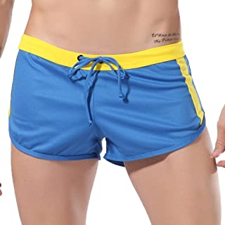 JJLIKER Men's Striped Solid Gym Workout Shorts Bodybuilding Running Fitted Training Jogging Short Pants with Drawstring