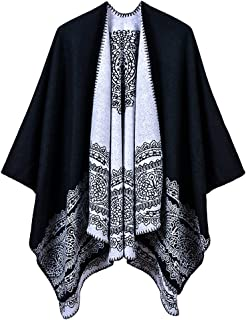 Women's Vintage Pattern Open Front Poncho Cape Shawl