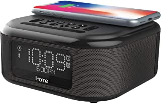 iHome iBTW23 Wireless Charging Bluetooth Alarm Clock with Speakerphone & USB Charging Port For iPhone X 8/8Plus & More (Bl...