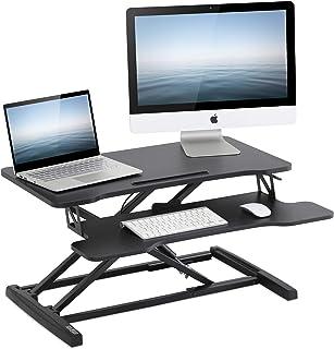 FITUEYES 高さ調整可 スタンディングデスク 昇降式多機能畳 オフィスワークテーブル 折りたたみ無段階座位立位両用 机上デスク パソコン/モニター台 キーボードトレイ付き 幅800mm SD308001WB