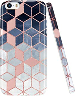 JAHOLAN iPhone 5 Case, iPhone 5S case, Shiny Rose Gold Gradient Cubes Design Clear Bumper TPU Soft Rubber Silicone Cover Phone Case Compatible with iPhone 5 5S SE