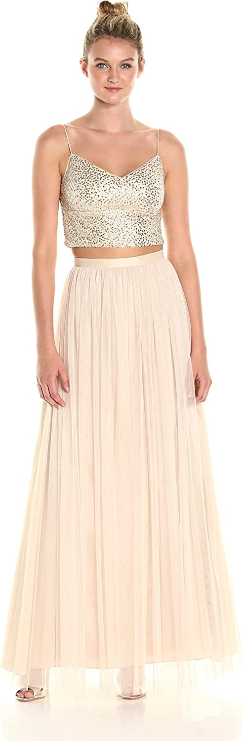 Adrianna Papell Womens 2 Pc Sequin Bridesmaid Top with Mesh Skirt Dress