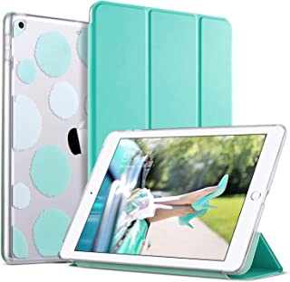 ULAK iPad 9.7 Case 2018/2017, iPad 6th Generation Case Slim Lightweight Trifold Smart Case Stand with Auto Sleep/Wake Hard Back Clear Polka Dot Cover for iPad 9.7 iPad 5th / 6th Generation, Mint