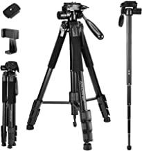 72-Inch Camera/Phone Tripod, Aluminum Tripod/Monopod Full Size for DSLR with 2 Quick Release Plates,Universal Phone Mount ...