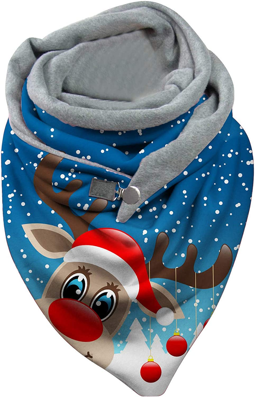 Women Circle Loop Scarves, Christmas Cute Pattern Thick Warm Bib, Wrap Soft Shawls Button Casual Cloak