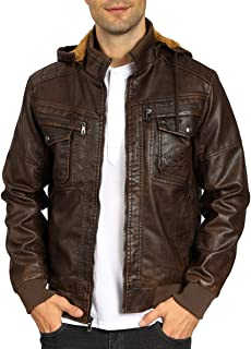Men's Pu Leather Jacket with Removable Hood Vintage Faux Leather Winter Coat