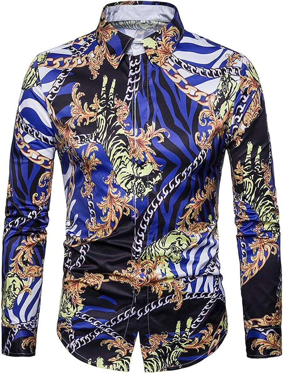 Men's Shirt Fashion Casual Classic Hawaiian Wind Chain Digital Print Long Sleeve Simple Joker Shirt Shirt