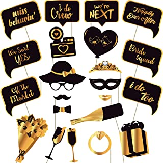 Wedding Bridal Shower And Bachelorette Photo Booth Props - Gold Photobooth Props and Signs - Party Favors Supplies and Decorations (22 Count)