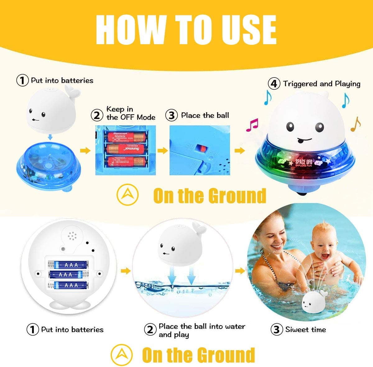 Creamy White + Blue Base QINGBAO Bath Toys Childrens Bath Toys with Lamp Electric Automatic Induction Water Spray Bath Toy Water Spray Whale