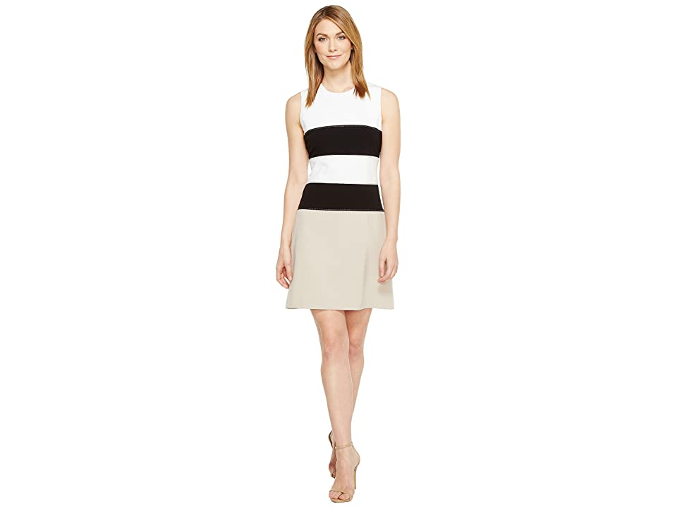 Calvin Klein Color Block Lux Fit Flare Dress CD7X145L (White/Black Multi) Women