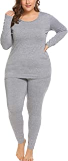 Women's Plus Size Thermal Long Johns Sets Fleece Lined 2 Pcs Underwear Top & Bottom Pajama 16-24
