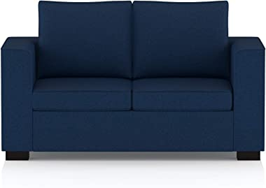 Amazon Brand - Solimo Cosmos Fabric 2 seater Sofa (Blue)