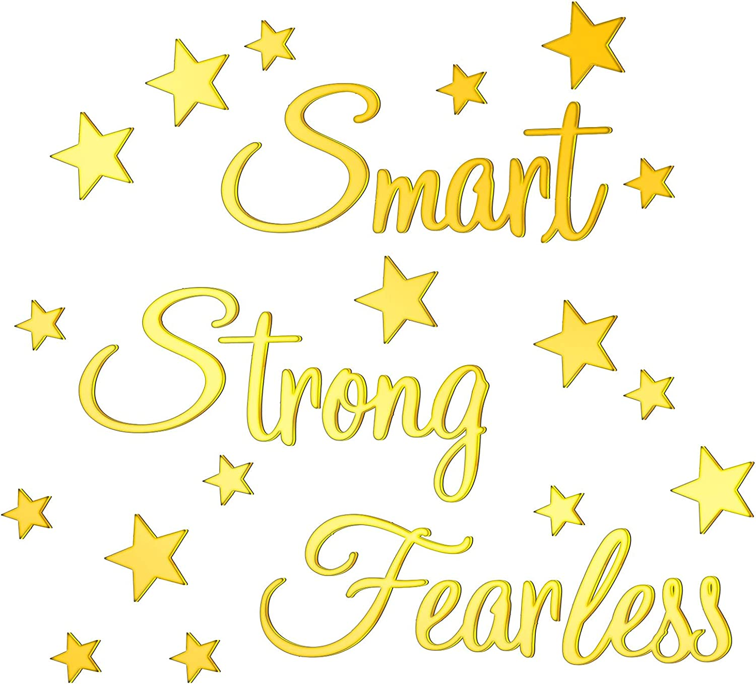 Inspirational Quote Mirror Stickers DIY Smart Strong Fearless Wall Stickers 3D Acrylic Mirror Wall Decals with 24 Pieces 3D Star Removable Mural Stickers for Girls Room Home Wall Quotes Decor (Gold)