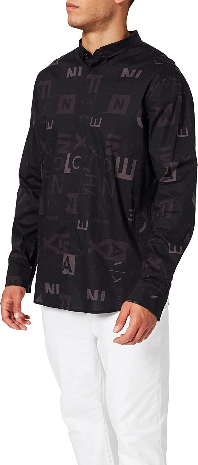AX Armani Exchange Men's Long Sleeve All Super Max 46% OFF beauty product restock quality top Over Button Up Pattern