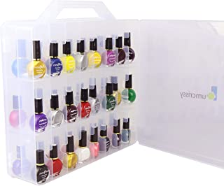 Portable Nail Polish Organizer,Lumcrissy Gel polish Carrying Case,Storage Fingernail Polish Holder Box, (Stores 48 bottles) With Adjustable Dividers Clear