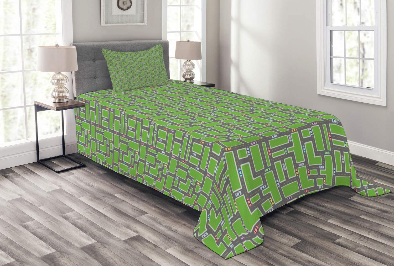 Ambesonne Car Tucson Mall Race Track Intersecting Cartographic Choice Ro Bedspread