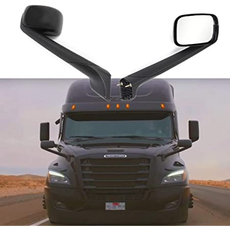 Hood Mirror Chrome with Heated Driver Side Fit: 2018-2020 Freightliner Cascadia Trucks