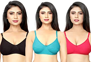 DeVry Women's Full Coverage Non Padded Non-Wired T-Shirt Bra with Detachable Straps - Combo Pack of 3 Pcs