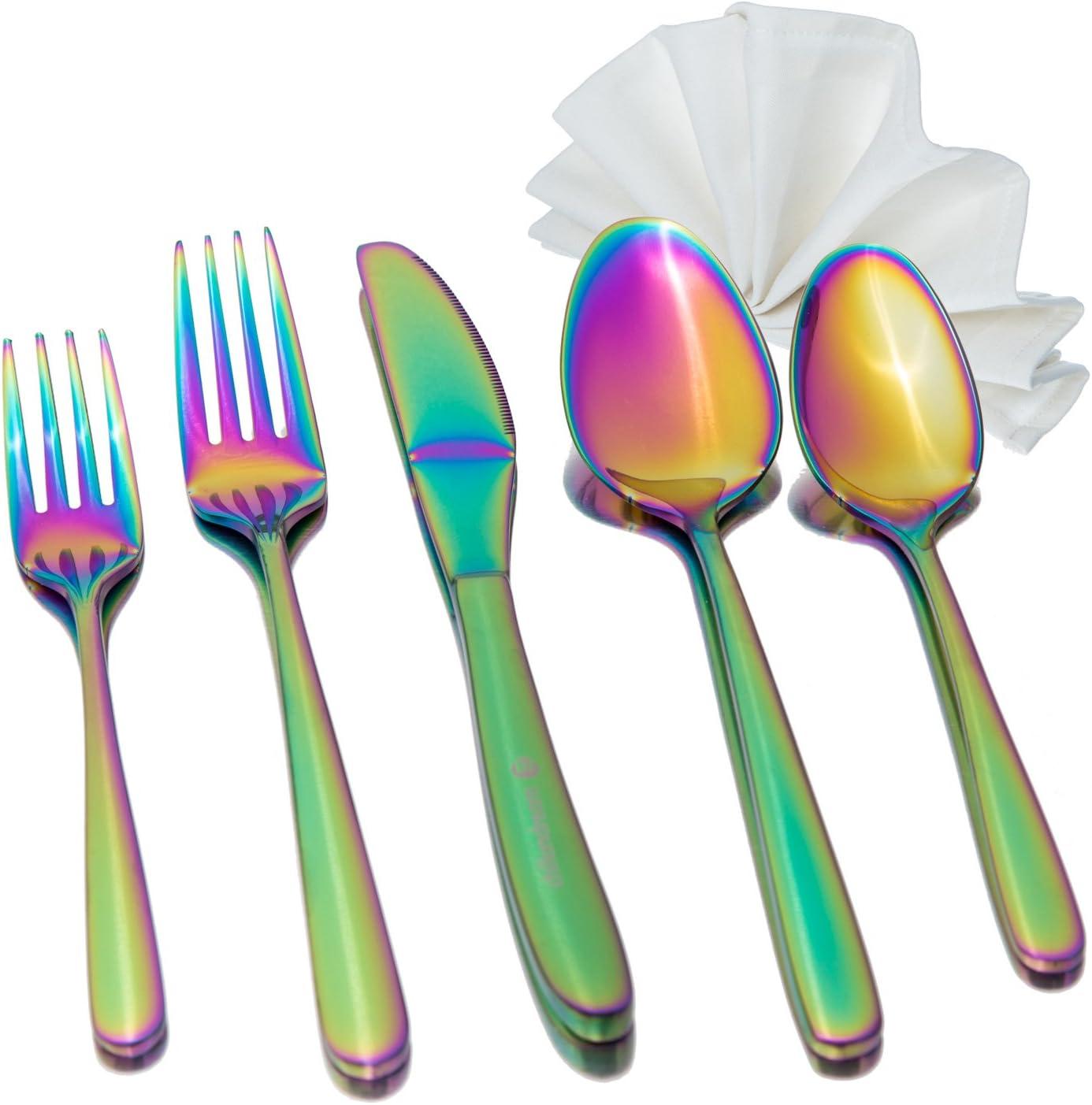 Rainbow Flatware San Jose Mall Set with Napkin Virginia Beach Mall 5 8 18 Stainless piece Premium