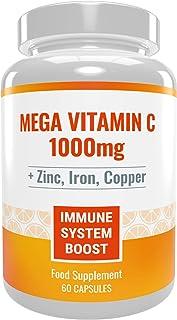 Mega Vitamina C 1000mg con Zinc. Hierro y Cobre. Poderoso estimulante