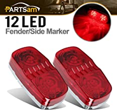 Partsam 2x Side Marker Bullseye Tiger Eye Turn Signal Red Light Waterproof For Trailer Motorhome Camper, Sealed 2x4 Rectangular Rectangle Truck Double Bubble Tiger eye Clearance Lights 12 Diodes