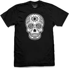 Pins & Bones Sugar Skull, Dia De Los Muertos, Black and Grey, Cotton T-Shirt