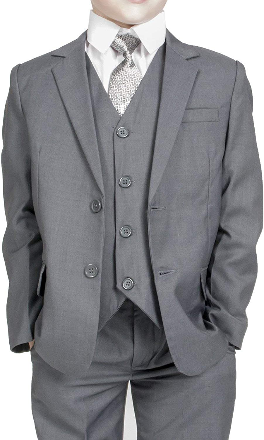 Grey Boys Tuxedo 3-Piece Dress Suit Set for Infant Toddler Children and Teen