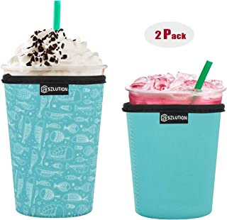 CASE STAR Premium Neoprene Coffee Cup Sleeves Cover 12OZ-24OZ Resuable Iced Insulated Coffee Cup Sleeves for Cold Beverages Starbucks, McDonalds, Dunkin Donuts and More (Fish Set 16OZ+20OZ)