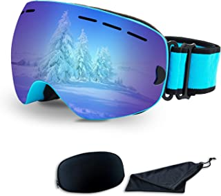 Rongbenyuan Ski Snow Snowboard Goggles - OTG Goggles Men Women Kids Anti-Fog UV400 Protection