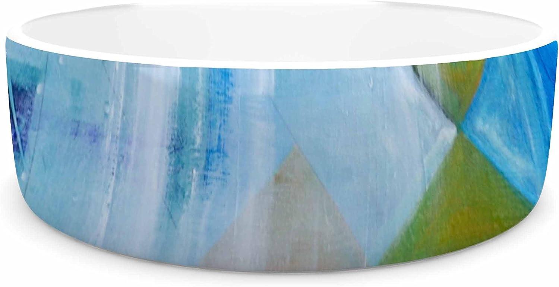 KESS InHouse Kira Crees Alice bluee Multicolor People Painting Pet Bowl, 7  Diameter