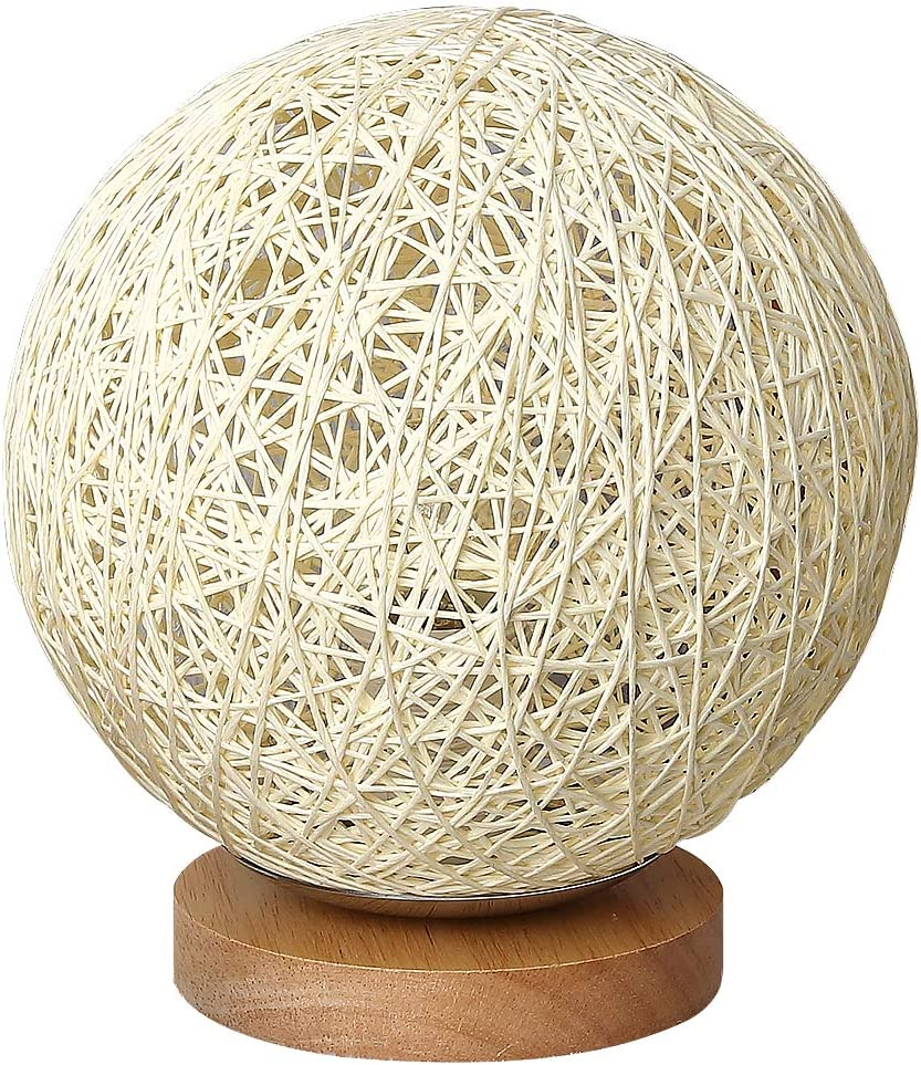 Department store MinTian Romantic Solid Wood Table Bedside Rattan Ball Lamp cheap