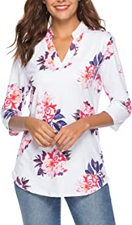CEASIKERY Women's 3/4 Sleeve Floral V Neck Tops Casual Tunic Blouse Loose Shirt