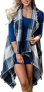 Ferbia Womens Cardigans Vest Kimonos Hooded Plaid Sleeveless Fringe Drape Shawl Coat Jacket