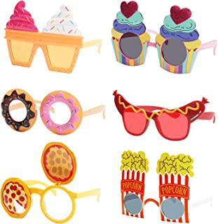 Ocean Line Funny Snack Party Glasses Set - 6 Pairs Summer Luau Sunglasses, Tropical Fancy Costume Favors, Fun Halloween Ph...